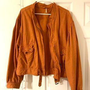Orange Denim Free People Jacket